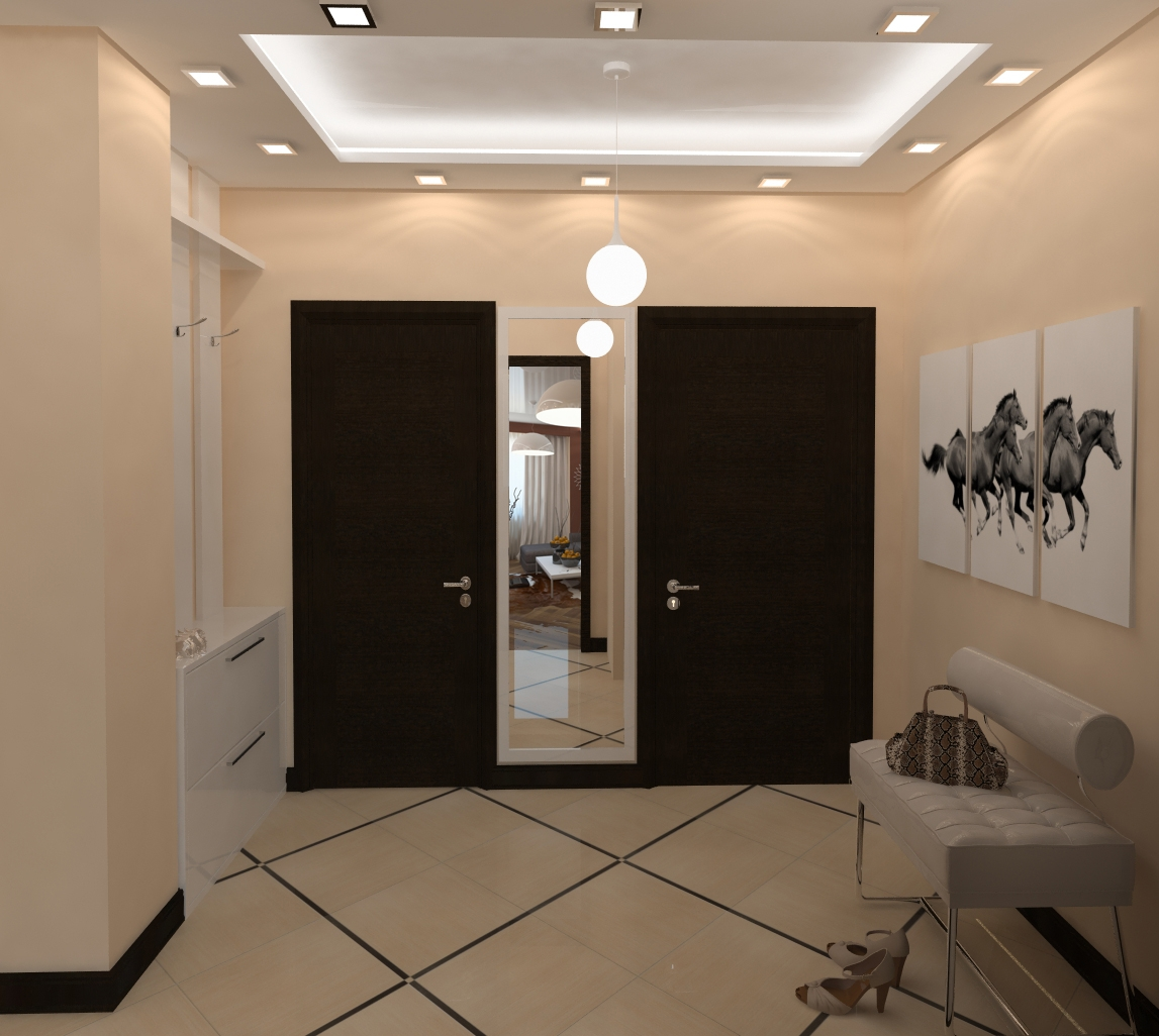 светлый стиль маленького коридора в современном стиле