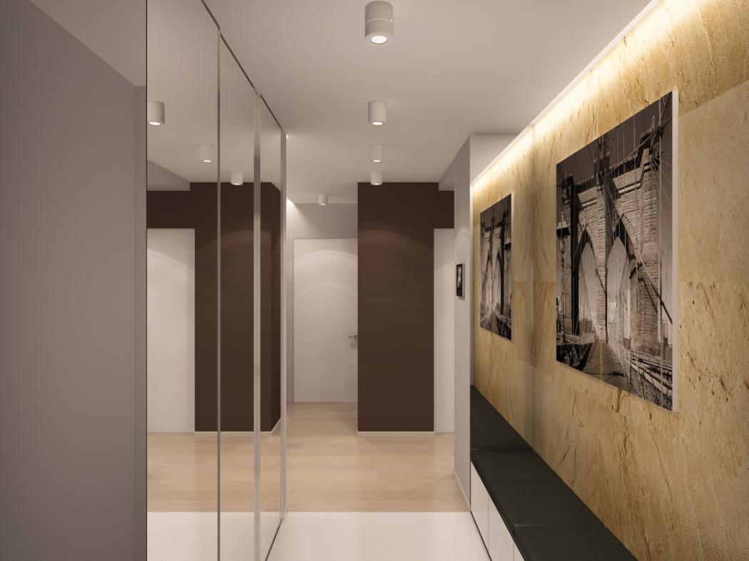 яркий дизайн маленького коридора в современном стиле