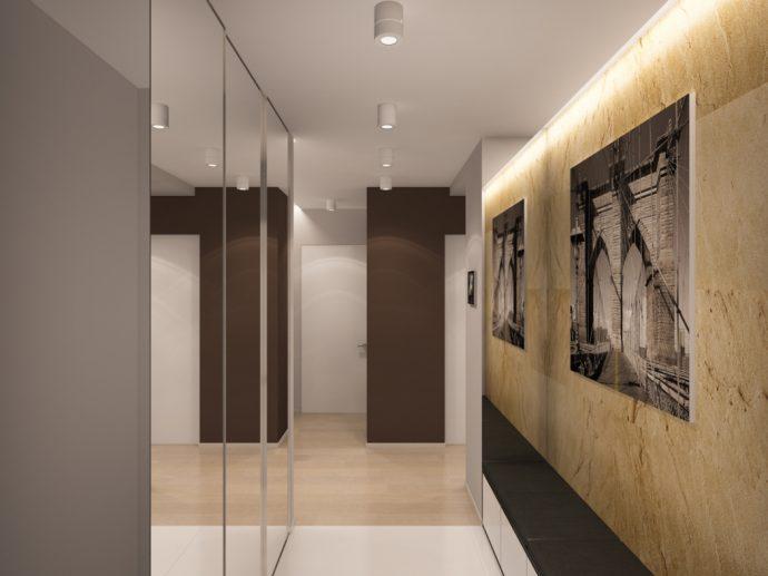 светлый интерьер маленькой прихожей комнаты в новом стиле фото