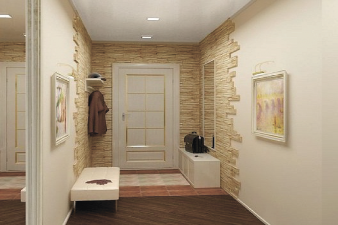 шикарный дизайн проходной комнаты с отделкой фактурной штукатуркой