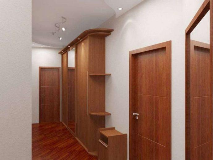 светлый стиль прихожей с узким коридором