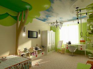 красивый натяжной потолок из пвх пленки в игровой картинка
