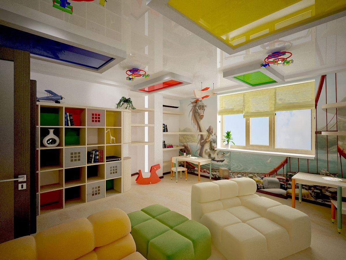 светлый натяжной потолок из натяжной ткани в детской комнате
