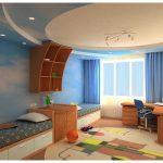 яркий потолок из натяжной ткани в игровой комнате фото