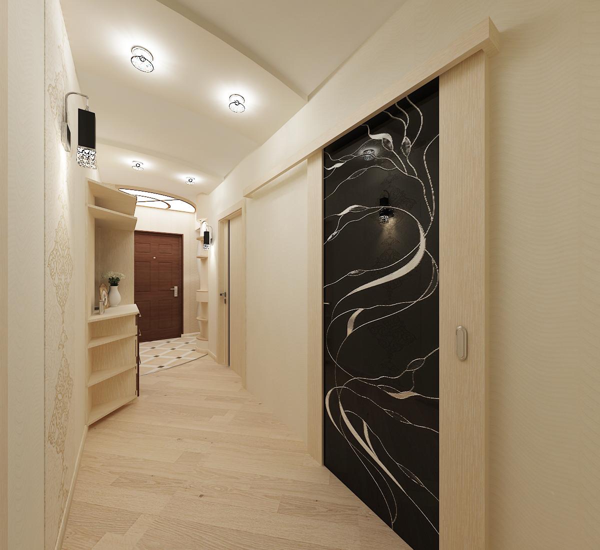 светлый интерьер коридора в новом стиле
