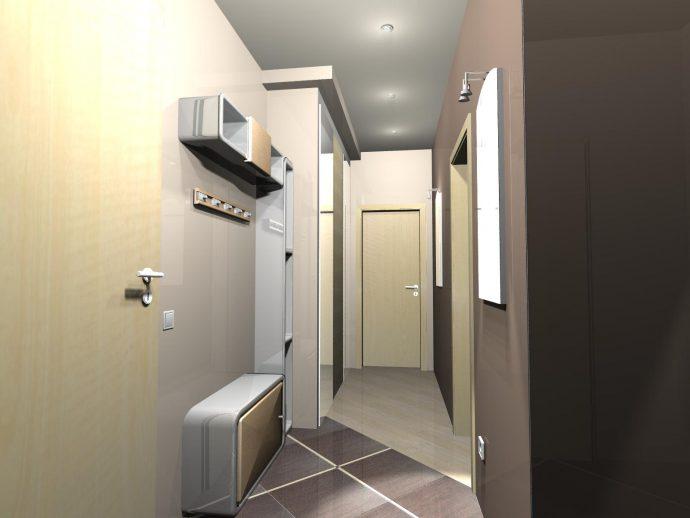 яркий дизайн прихожей с маленьким коридором фото