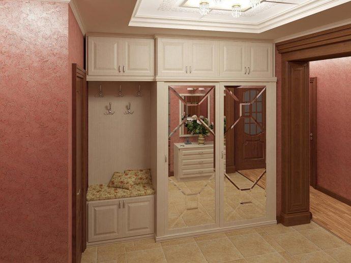 красивый интерьер проходной комнаты с узким коридором